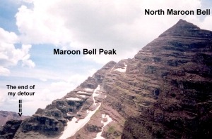 A view from North Maroon Bell of my detour end point