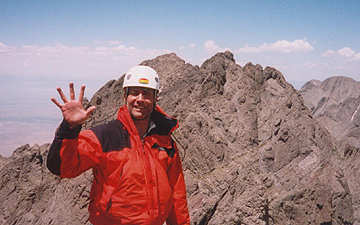 On summit of Crestone Needle noting the completion of the 5th 14er