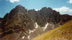 The Crestone Peaks seen during the Humboldt descent