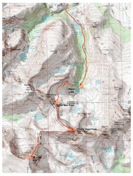 Our route map to (1) Black Lake, (2) Stone Man Pass, (3) Chiefs Head, and (4) Mt Alice