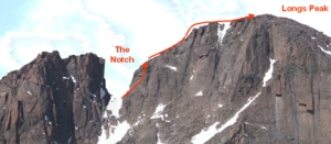 Our route from the Notch to Longs Peak summit