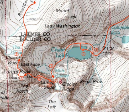 "Our ""lucky day"" route up and down Longs Peak. The ""X's"" mark the spots of Brian's found luck."