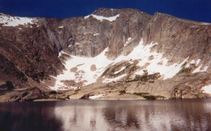 A view of Cystal Lake with Fairchild Mtn beyond.  My route followed the right skyline to the summit.
