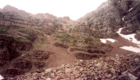 The climb to Pyramid's shoulder