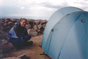 Brian next to his tent in the Longs Peak Boulderfield