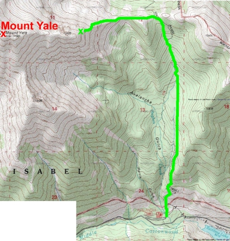 Our route up Mt. Yale's Avalaunche Gulch route