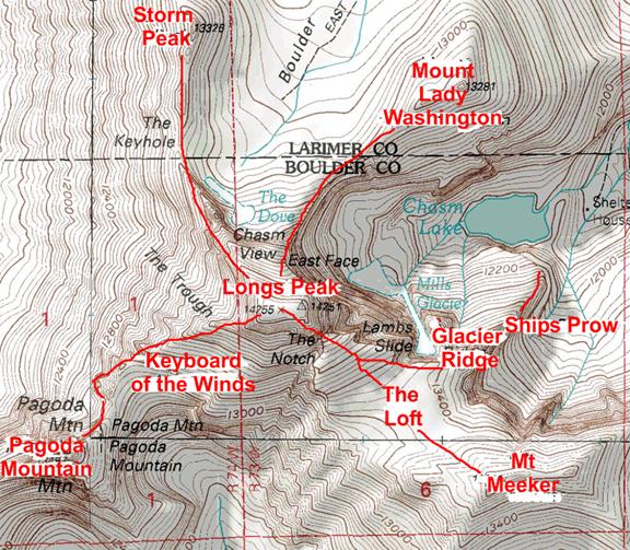 Longs Peak Massif Ascents PeakMind