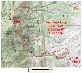 The Bear Peak Loop route map - 12/1/2012
