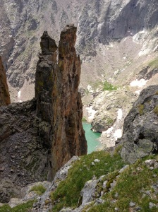 View of Petit Grepon and Sky Pond from Sharkstooth rappels