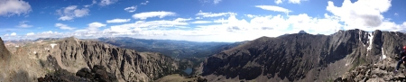 Panorama from Sharkstooth summit July 2013